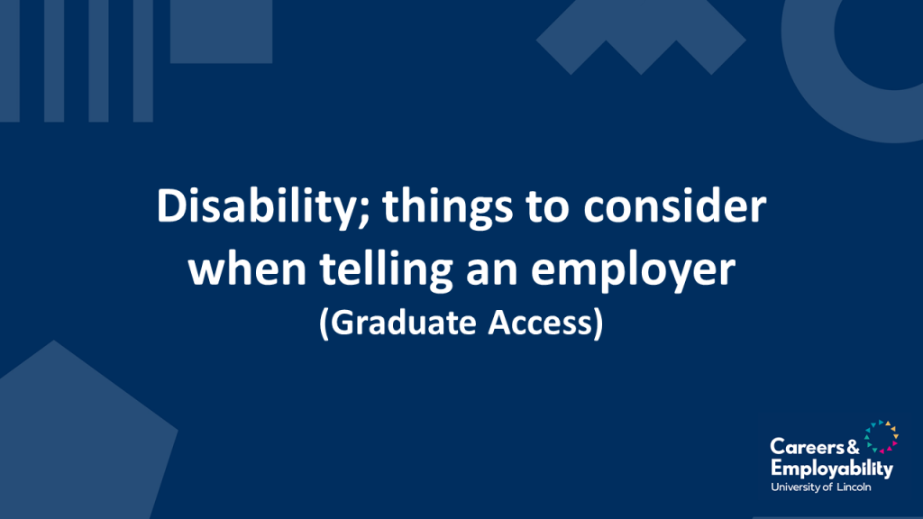 Title stating Disability' things to consider when telling an employer