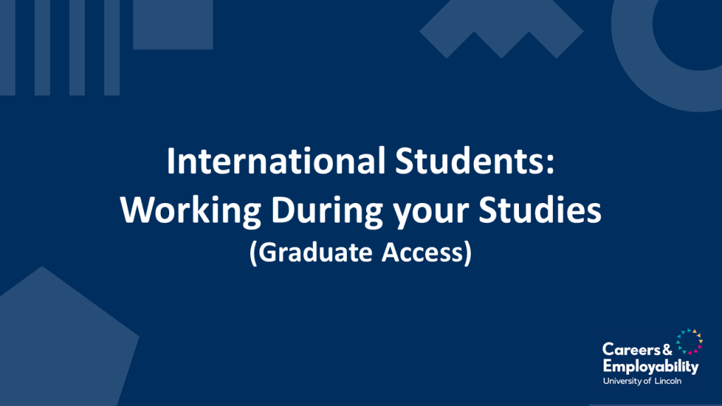 Title stating: Working during your studies for international students