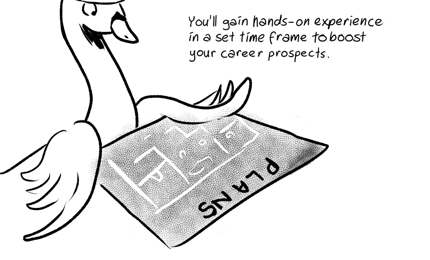 You'll gain hands-on experience in a set time frame to boost your career prospects